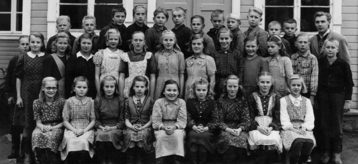 School children in the 1940's in Someronkylä, Northern Ostrobothnia, Finland